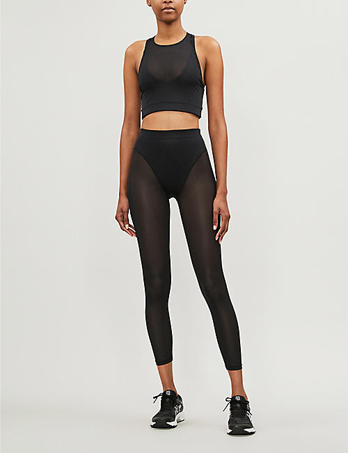 ADAM SELMAN SPORT Racer stretch-jersey cropped top