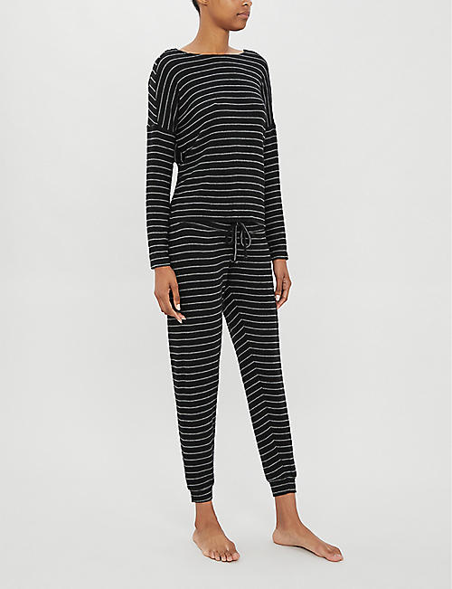 BEYOND YOGA Stripy stretch-knit jumper