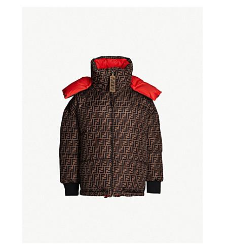 FENDI Logo-print reversible padded shell-down jacket (Bahamas+tobacco