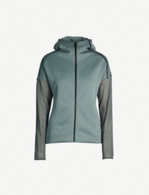 ADIDAS PERFORMANCE Mesh-panelled stretch-jersey hoody