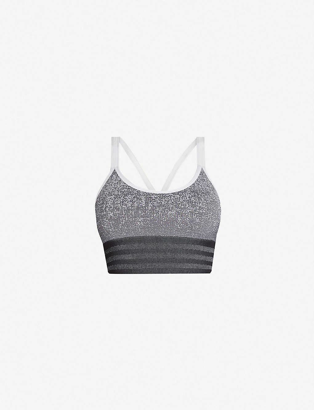 cbc9791ed8590 Believe This melange-print stretch-jersey sports bra - White black ...