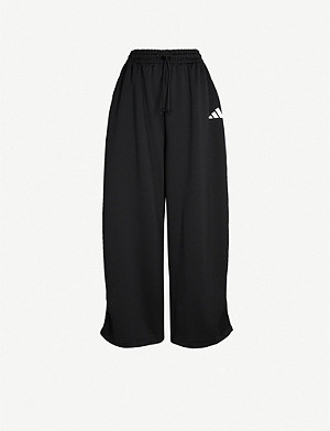 ADIDAS PERFORMANCE Wide-leg cotton-jersey jogging bottoms
