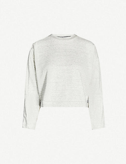 ADIDAS PERFORMANCE Must Haves Mélange cotton-blend jersey sweatshirt