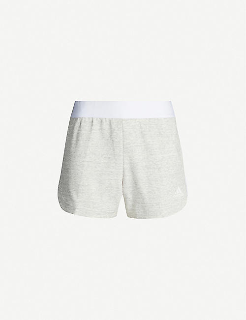 ADIDAS PERFORMANCE Must Haves Mélange cotton-blend jersey shorts
