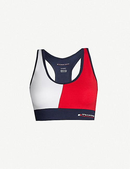 0722f9bc48608 TOMMY HILFIGER Colour block stretch-cotton sports bra