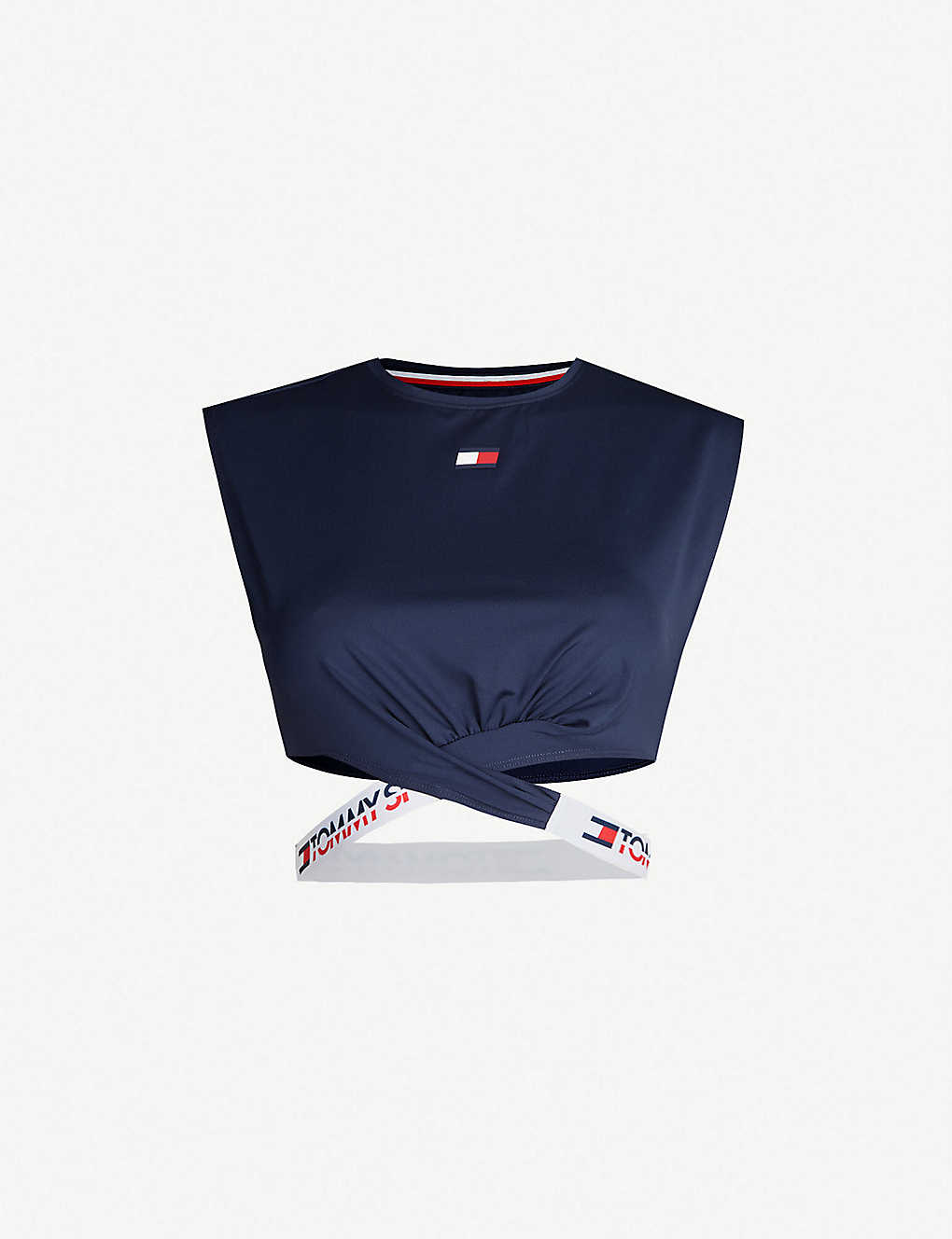 3d6dafa27096d TOMMY HILFIGER - Twist-front band-detail jersey crop top ...