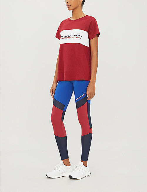 TOMMY SPORT Colour-block stretch-jersey leggings