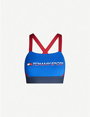 TOMMY SPORT: Logo-print colour-block stretch-woven sports bra