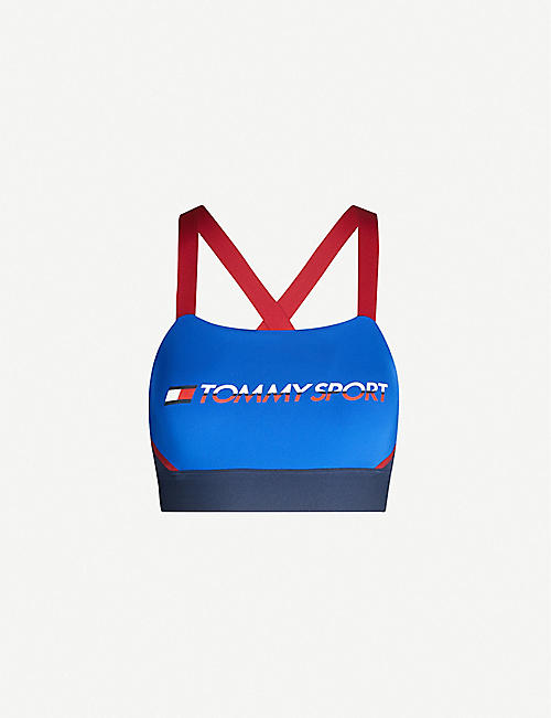 TOMMY SPORT Logo-print colour-block stretch-woven sports bra