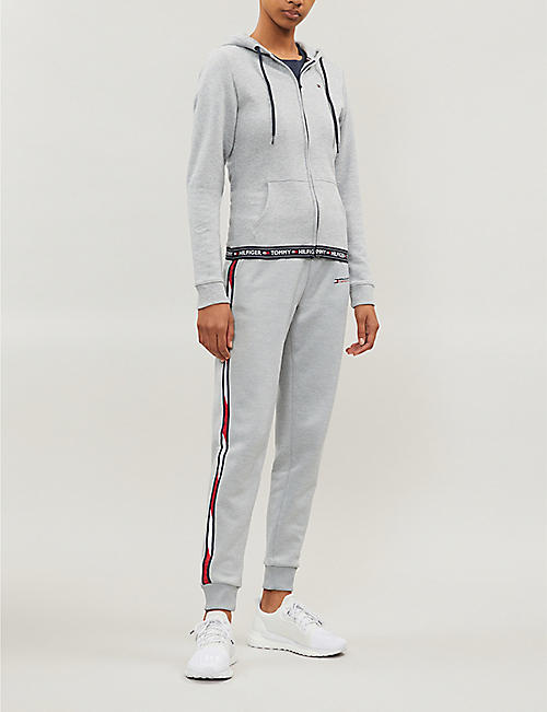 TOMMY SPORT Slim-fit logo stripe stretch-jersey jogging bottoms
