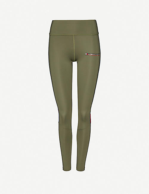 TOMMY SPORT: Logo-print high-rise stretch-jersey leggings