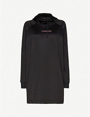TOMMY SPORT: Logo-print hooded stretch-jersey dress