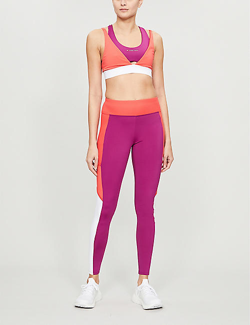 TOMMY SPORT Ribbed panel colour block leggings