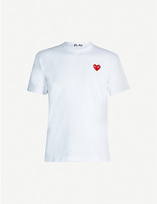 COMME DES GARCONS PLAY: Embroidered heart cotton t-shirt