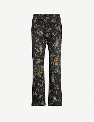 R13 Floral-print cropped high-rise straight-leg stretch-denim jeans