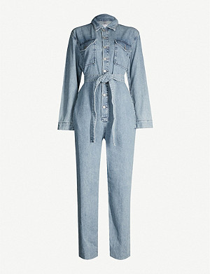 BOYISH Guy frayed-hem straight denim jumpsuit