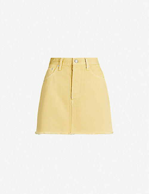 BOYISH Corey fitted high-waist ripped-hem denim skirt