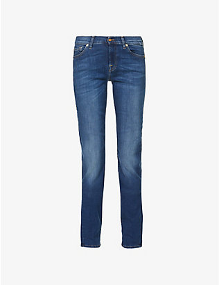 7 FOR ALL MANKIND: Roxanne Bair mid-rise slim-fit jeans