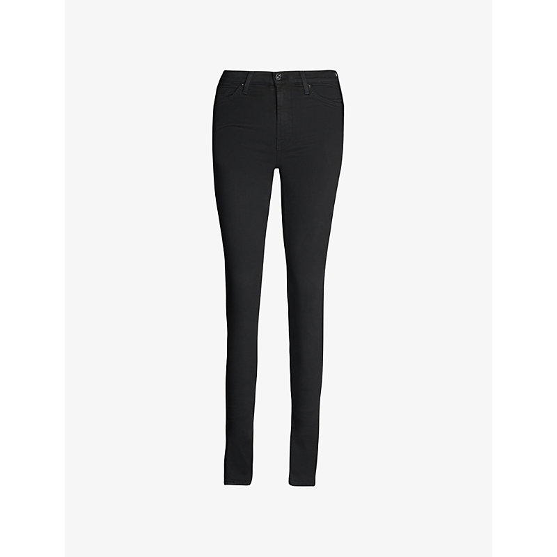 7 FOR ALL MANKIND | 7 For All Mankind Illusion Luxe Slim-Fit High-Rise Jeans 24, Rinsed Black | Goxip