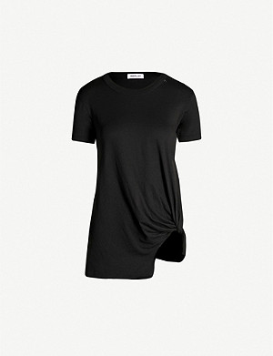 REPLAY Round-neck knot-front cotton-jersey T-shirt
