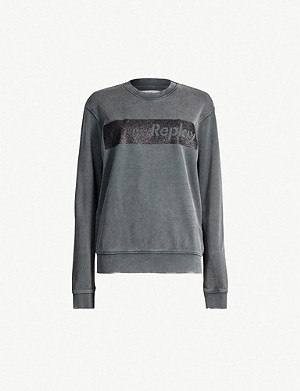 REPLAY Branded cotton-jersey sweatshirt