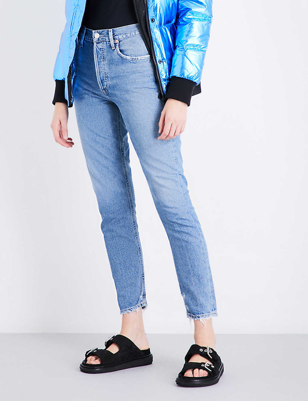 AGOLDE: Jamie ripped classic-fit high-rise jeans