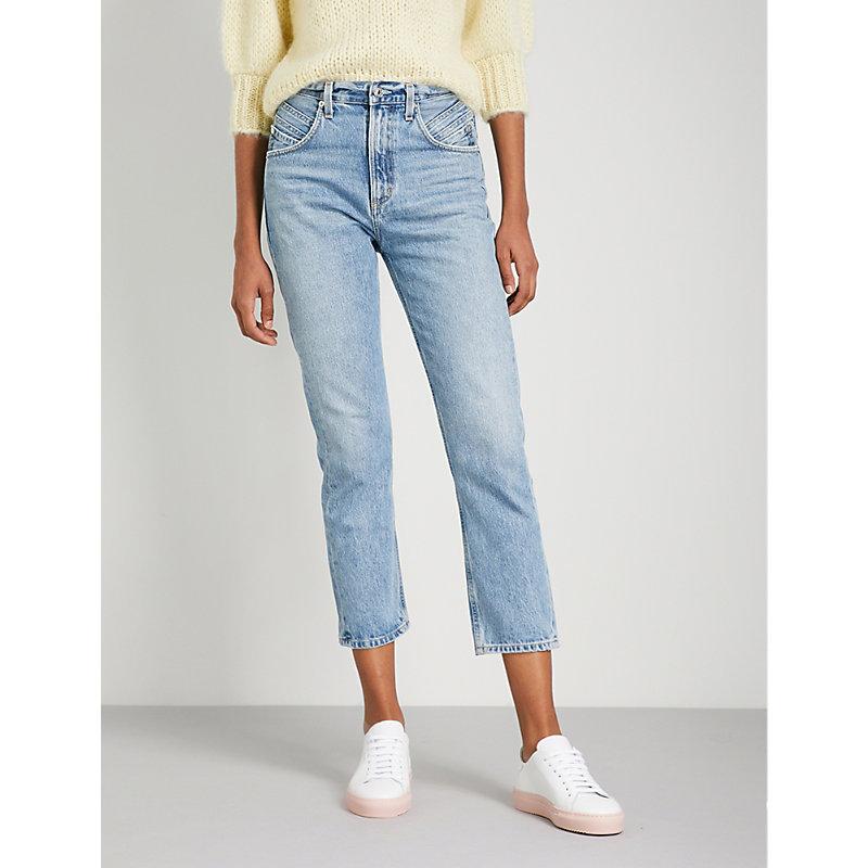 A GOLD E High Rise Kick Pinch Waist Jeans in Impression