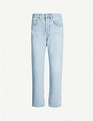 AGOLDE: Parker ripped straight high-rise jeans