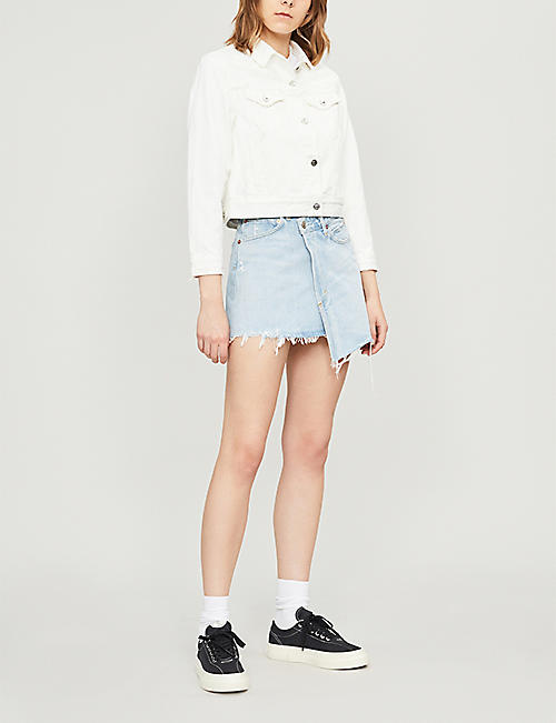 AGOLDE Criss Cross high-rise stretch-denim mini skirt