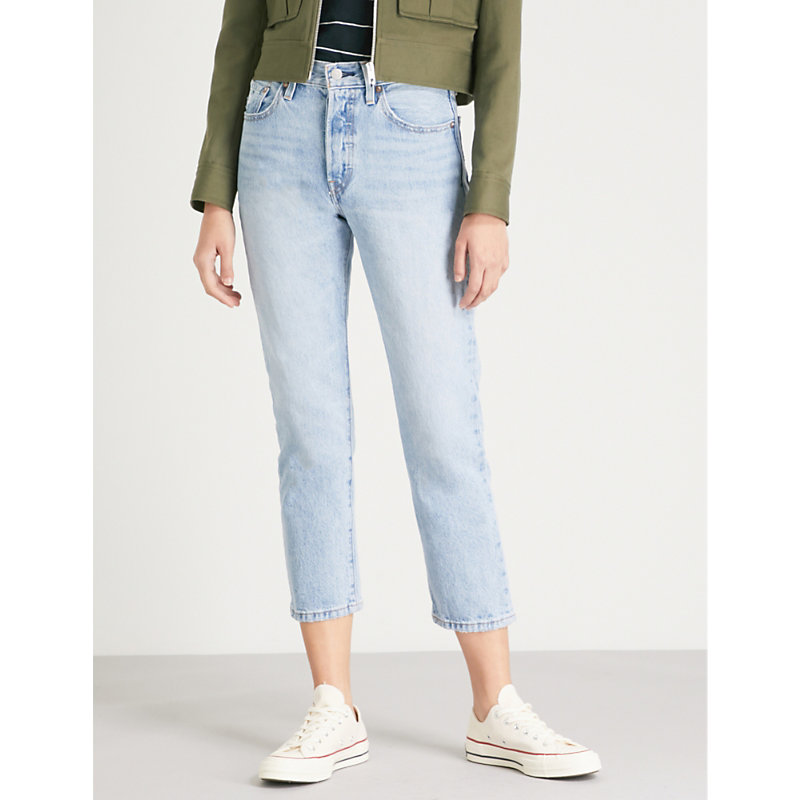 Levis Blue 501 Cropped Jeans in Stone Throw