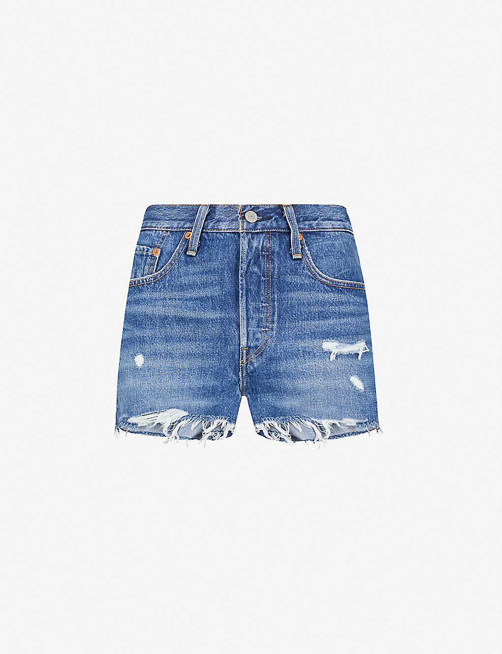 5d253af0 LEVI'S - 501 frayed-hem high-rise denim shorts | Selfridges.com