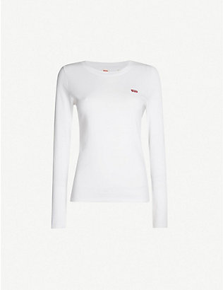 LEVIS: Baby logo-embroidered cotton-jersey top