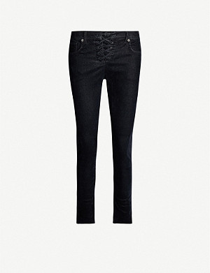 LEVIS MADE & CRAFTED Lace-up mid-rise skinny velvet jeans