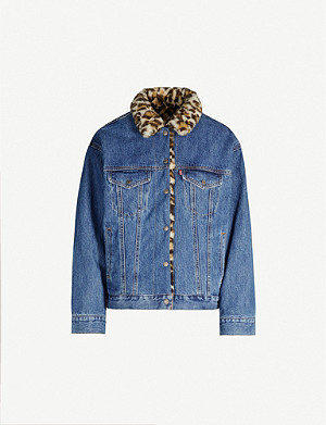 LEVI'S Faux leopard-print fur-trimmed regular-fit denim jacket