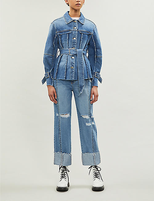 SJYP Ripped turn-up high-rise jeans