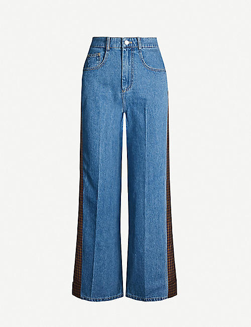 SJYP Contrast-back denim and twill jeans