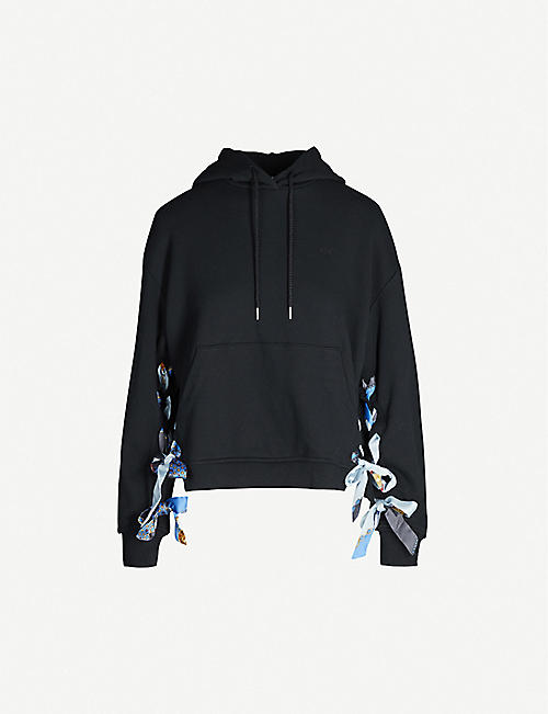 SJYP Ribbon-laced long-sleeved cotton-jersey hoody