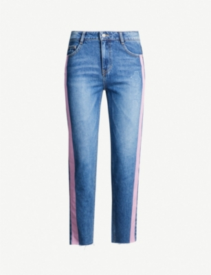 Sjyp Contrast side-panel high-rise slim-fit jeans