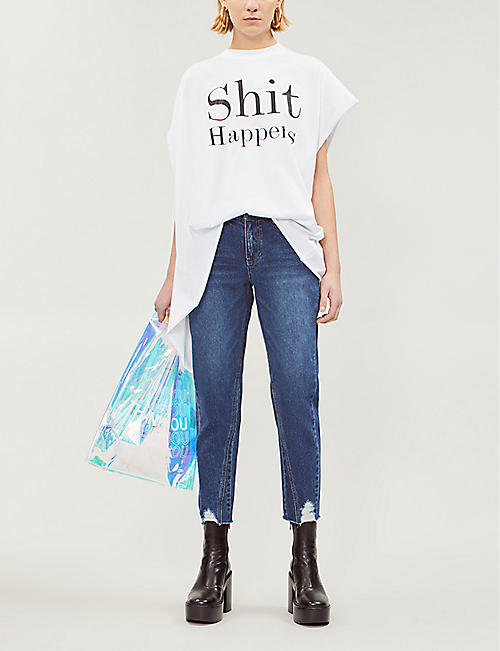 SJYP Ripped cropped high-rise jeans