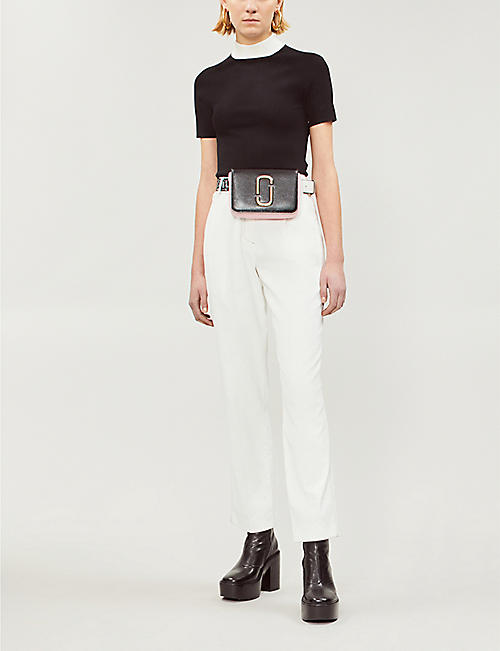 SJYP Contrast-stitch high-rise straight twill trousers