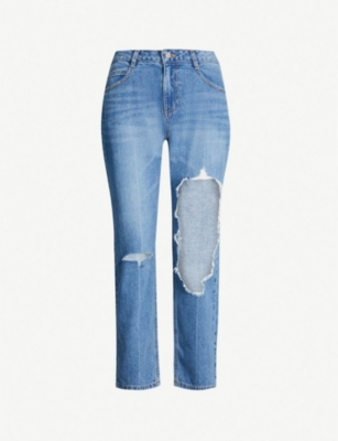 SJYP Ripped straight high-rise jeans
