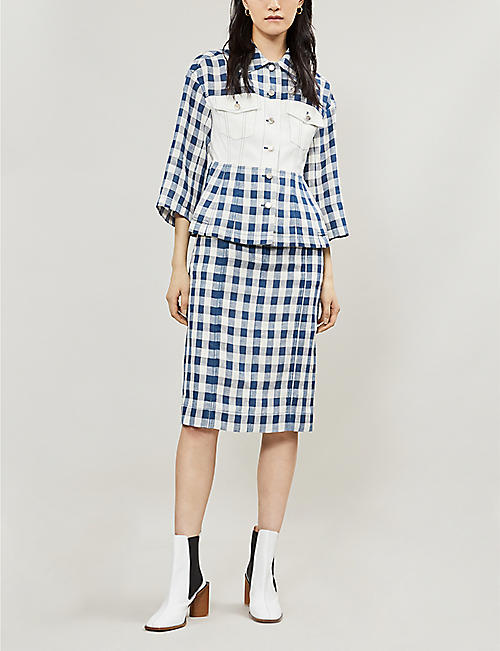 SJYP Gingham-patterned denim and linen skirt