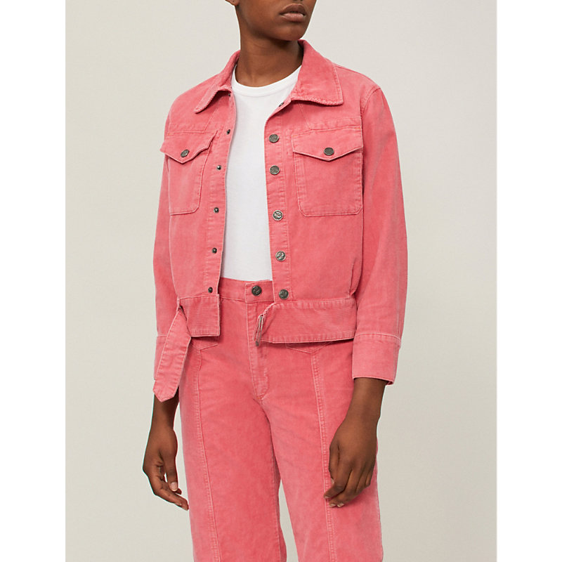Paradise Cropped Button-Front Corduroy Jacket in Pink