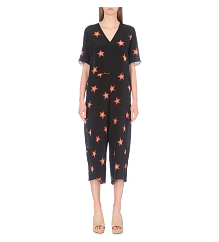 a6dc7471cb49 MIH JEANS Hart star print wide leg silk crepe jumpsuit on PopScreen
