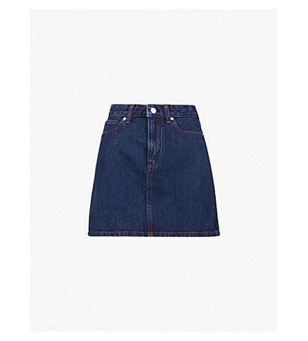 7903f7ec4491 CALVIN KLEIN High-rise denim skirt (Dark+stone+red+stitching