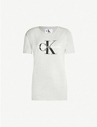 CALVIN KLEIN: Logo-print stretch-cotton T-shirt