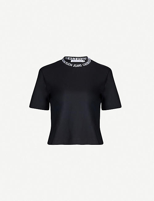 d7863ace659 CALVIN KLEIN Branded cropped cotton-jersey T-shirt