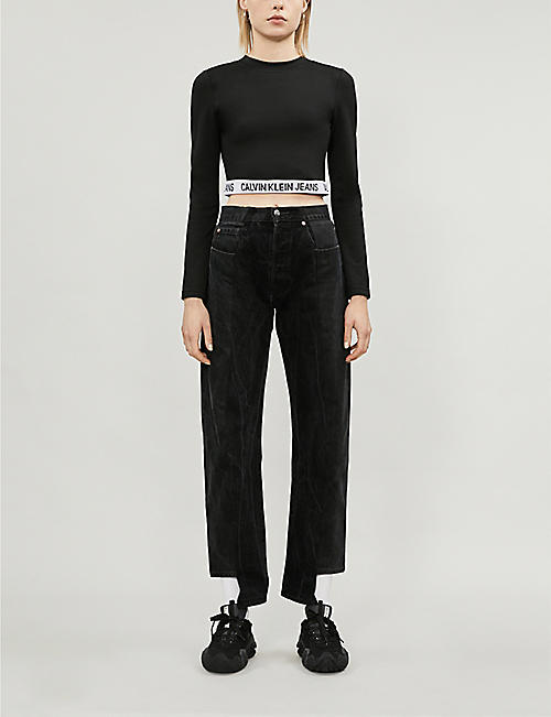 CALVIN KLEIN Branded cropped jersey top