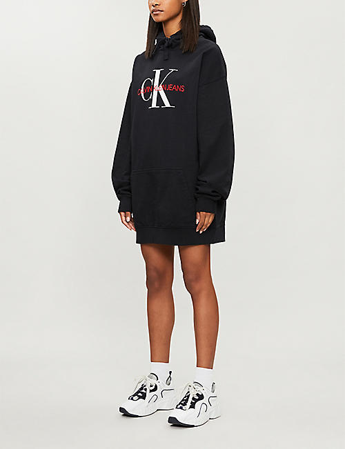 CALVIN KLEIN Logo-embroidered oversized cotton-jersey hoody