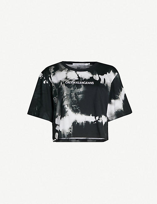 CALVIN KLEIN Institutional cropped tie-dye cotton T-shirt